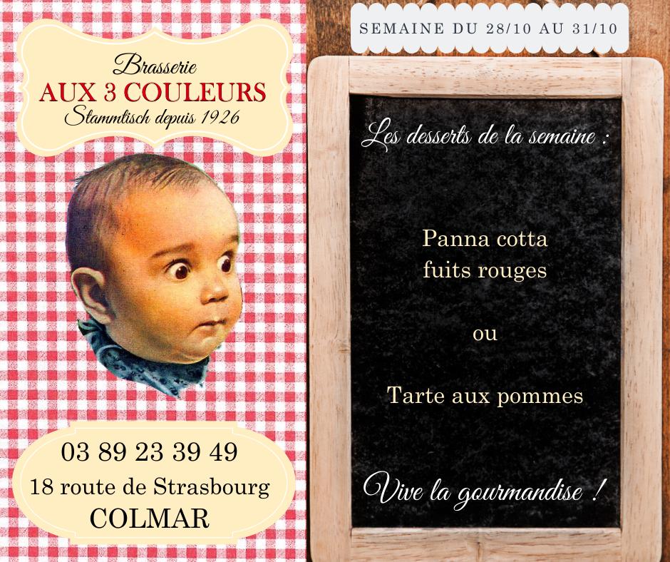 Desserts de la semaine brasserie Colmar
